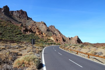 Tenerife road in Teide National Park