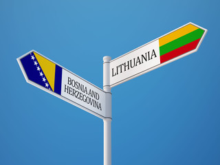 Lithuania Bosnia and Herzegovina.  Sign Flags Concept