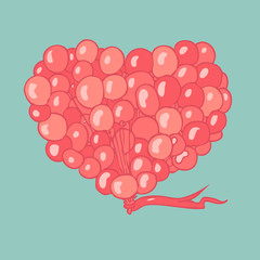flying balloons in the shape of a heart, vector illustration