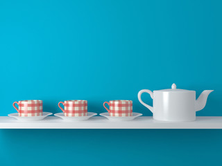 White teapot and cups.