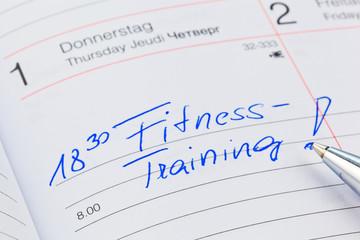 Eintrag im Kalender: Fitnesstraining