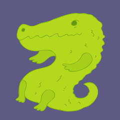 crocodile cartoon vector illustration, hand drawn