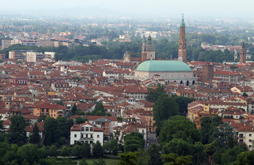 wide panoramic view of the city of Vicenza with the Basilica Pal