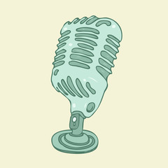 vintage studio microphone vector illustration, hand drawn