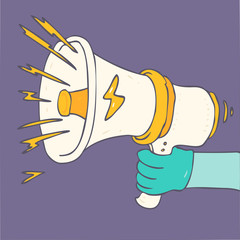 Loudspeaker or megaphone white vector illustration