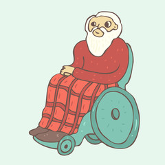old man in a wheelchair  vector illustration, hand drawn