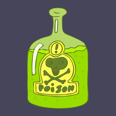 Bottle of poison vector illustration, hand drawn