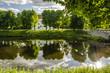 canvas print picture - Spiegelung Schloss Ahrensburg mit Baeumen