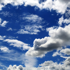 Blue sky with white Cumulus clouds, beautiful background