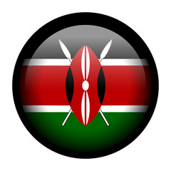 Flag button illustration with black frame - Kenya