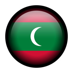 Flag button illustration with black frame - Maldives