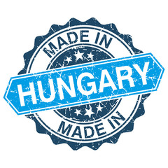 made in Hungary vintage stamp isolated on white background