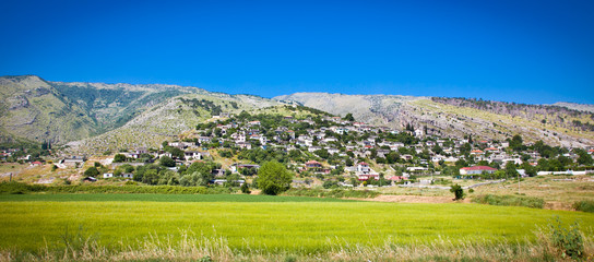 Panoramic view of Dervican village , Albania.