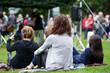 Friends enjoying an outdoors music community event, festival. - 66660947
