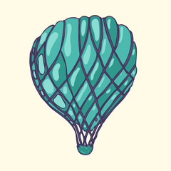 blue airship design, vector illustration, hand drawn