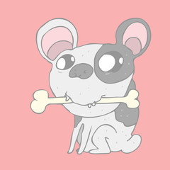 cute  dog with bone vector illustration, hand drawn