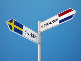 Sweden Netherlands  Sign Flags Concept