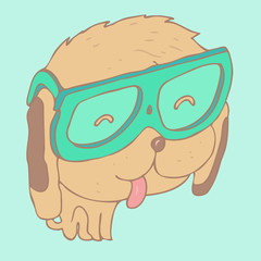 cute  hipster dog in fashionable glasses vector illustration