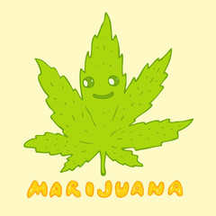 Marijuana cartoon character, vector illustration, hand drawn