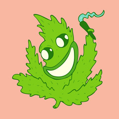 Marijuana cartoon character, vector illustration