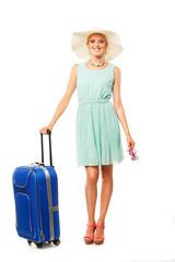 beautiful smiling woman going to summer vacation. on white