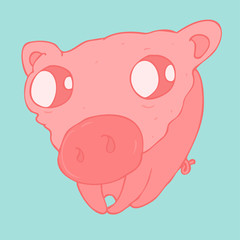 funny piglet scared vector illustration, hand drawn