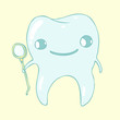 cute tooth character, vector illustration, hand drawn