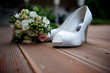 canvas print picture - bride shoes