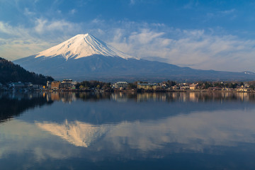 Mountain Fuji view from the lake