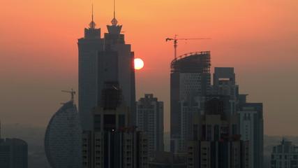 Dubai Skycreapers timelapse at pink sunset