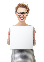 Smile female holding empty white board