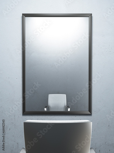 Leinwandbild Motiv chair in front of a mirror