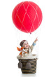 kid on hot air balloon with pointing hand up