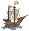 Old, wooden, hand drawn cartoon ship