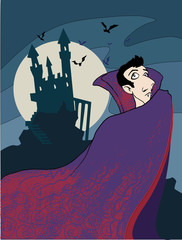 cartoon Dracula vampire, with a castle
