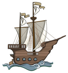 Old, wooden, hand drawn cartoon ship