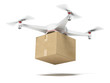 White quadrocopter carrying carton box - 66663350