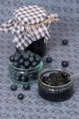 Blueberry Jam And Fresh Ripe Blueberries