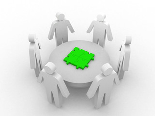 3d people - human character, person in circle, a table with puzz
