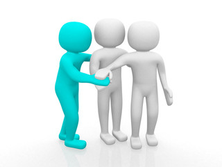 3d people - man together. Business team joining hands concept