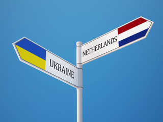 Ukraine Netherlands  Sign Flags Concept