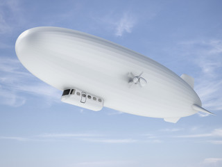 Airship in sky
