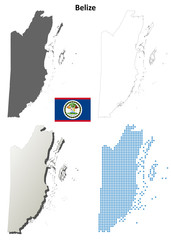 Belize blank detailed outline map set
