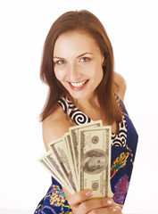 pretty young woman with money cash isolated