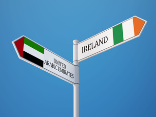 United Arab Emirates. Ireland  Sign Flags Concept
