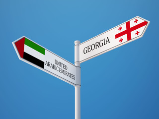 United Arab Emirates. Georgia  Sign Flags Concept