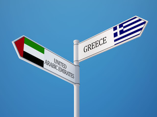 United Arab Emirates. Greece  Sign Flags Concept