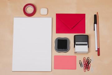 Business Identity Mockup Item Set On Wooden Desk