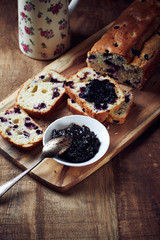 Blueberry Cake with Plum Marmalade