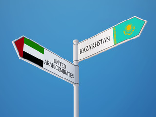 Kazakhstan United Arab Emirates.  Sign Flags Concept